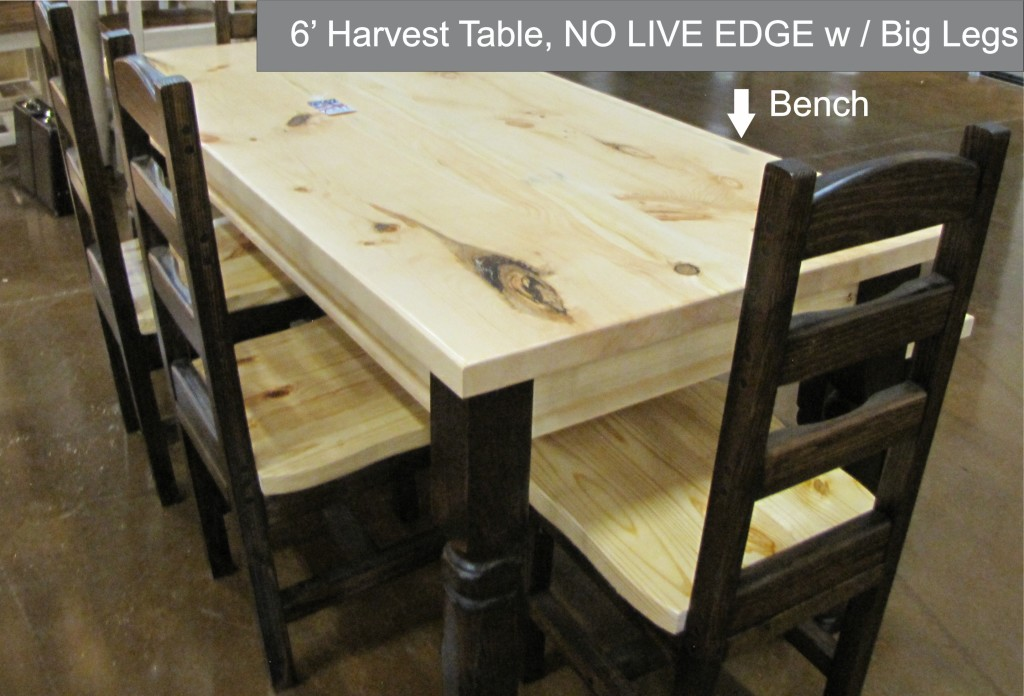 6 foot Harvest Table and bench with NO LIVE EDGE 1