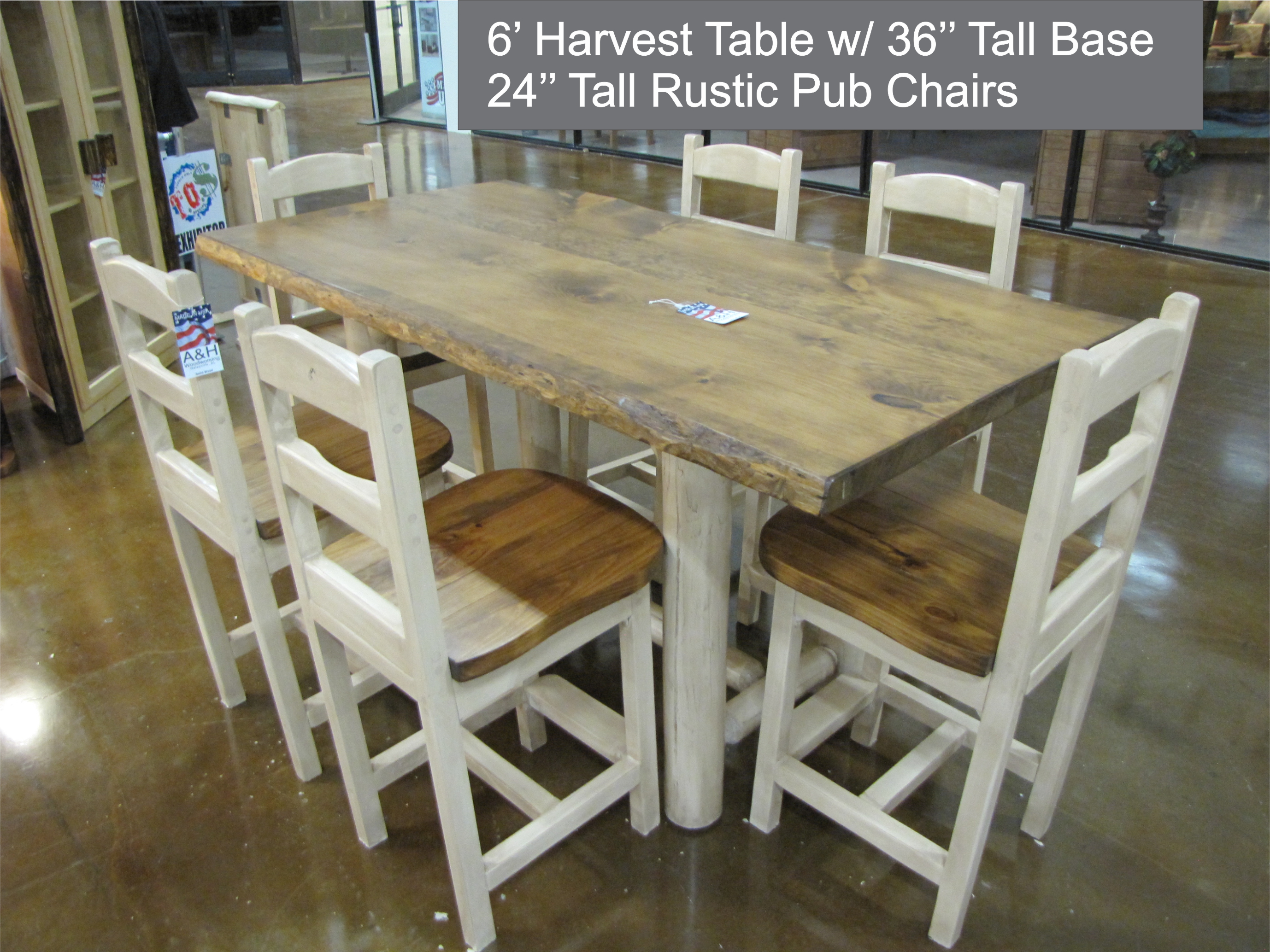 foot Harvest Table w 36 inch tall base